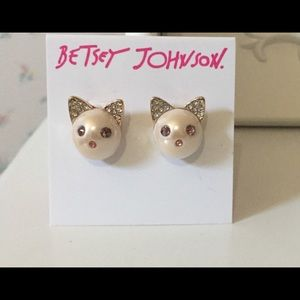 Betsey Johnson Pink Pearl Kitty Stud Earrings